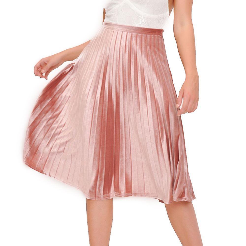 f3e3791d46 Terciopelo plisada Midi falda Blush rosa