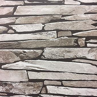 Slate Tile Effect Wallpaper Brick Stone Realistic Feature Grey Natural Debona