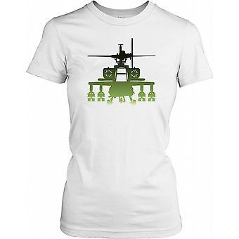 Apache silhuet grøn - bekæmpe helikopter damer T Shirt