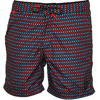 Scotch & Soda Mini Geo Print Swim Shorts, Blue/Red
