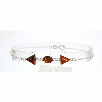 The Olivia Collection Sterling Silver Amber Fine Chain Bracelet