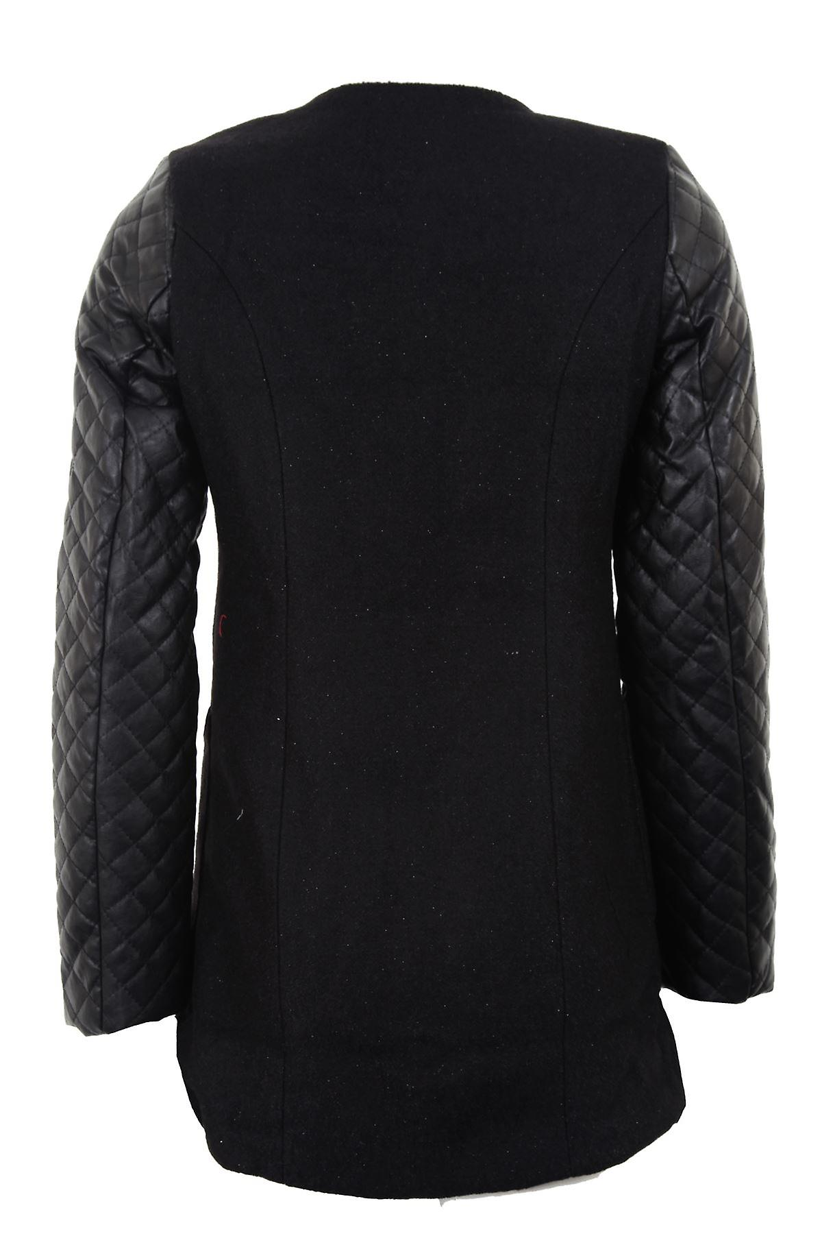 New Ladies Smart Long Glittery Quilted Sleeve Womens Black Cream Coat Jacket