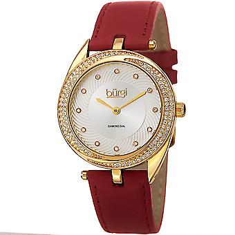 Burgi Women's Quartz Diamond Accented Leather Strap Watch BUR122YGR