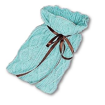 Designer Cable Knit Ribbon Neck 1L Hot Water Bottle: Mint