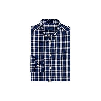 Gant 01.windblown Oxford Plaid Regular Fit Button Persian Blue