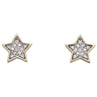 Elements Gold Star Diamond Stud Earrings - Gold/Silver