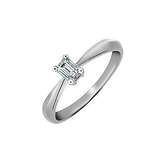 Jewelco London Damen solid Platin 4 Kralle Set Baguette G SI1 1ct Diamant Solitär Verlobungsring