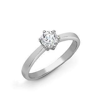 Jewelco London Ladies Solid 18ct White Gold 6 Claw Set Round G SI1 0.75ct Diamond Solitaire Engagement Ring 7mm