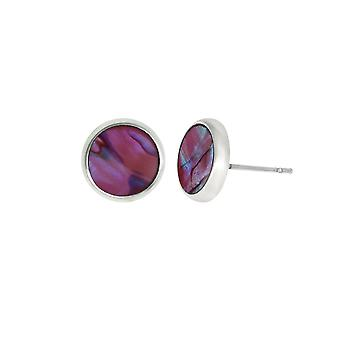 Eternal Collection Candid 10mm Round Pink Paua Shell Silver Tone Pierced Stud Earrings