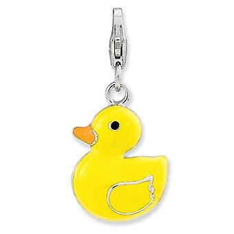 925 Sterling Silver Rhodium plaqué Fancy Lobster Closure Enameled 3-d Duck With Lobster Clasp Charm