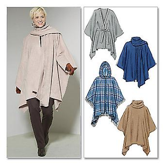 Misses' Ponchos And Belt  Y Xsm  Sml  Med Pattern M6209  0Y0
