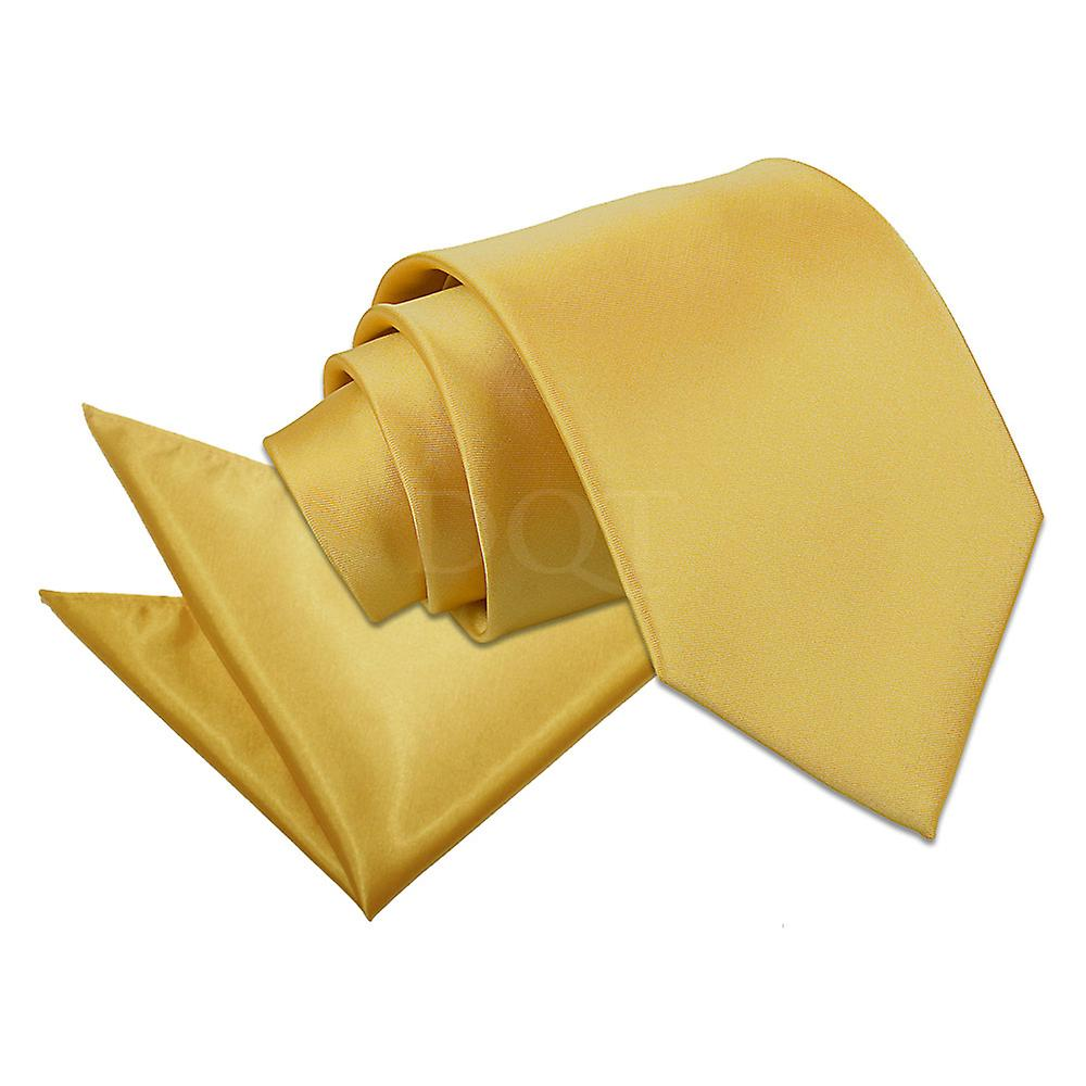 Plain Gold Satin Tie 2 pc. Set