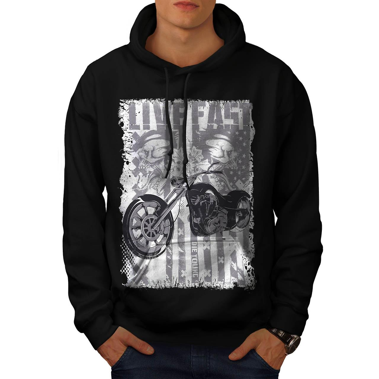 Live Fast USA Flag Biker Men Black Hoodie | Wellcoda