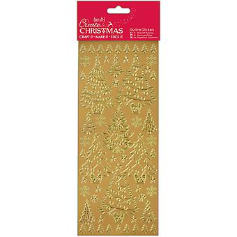 Papermania Create Christmas Outline Stickers-Gold Christmas Trees PM810919