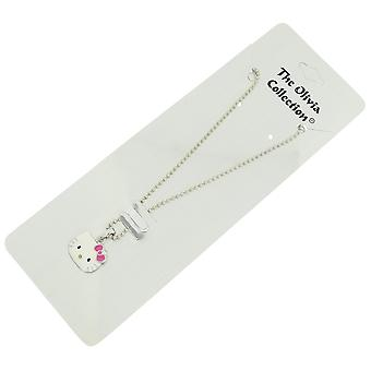 The Olivia Collection Enamel Coated Kitten Pendant on 18 Inch Ball Chain