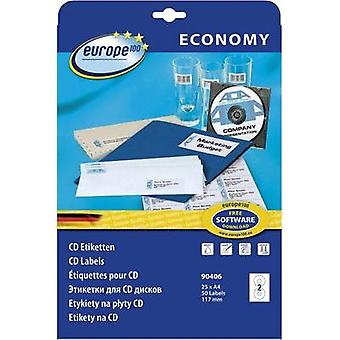 CD labels Europe 100 CD-Etiketten ECONOMY 90406 Inkjet, Laser Label diameter 117 mm 50 pc(s) White