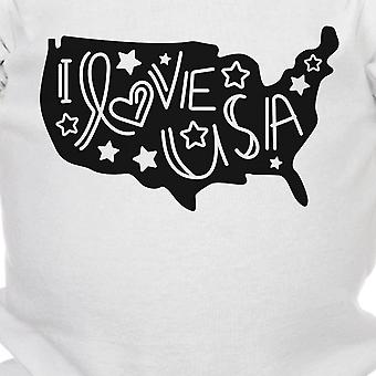 I Love USA White Cotton Baby Bodysuit Cute Gifts For New Army Dads