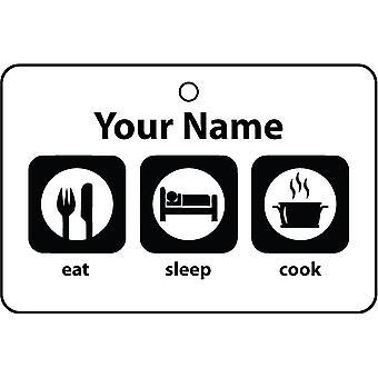Personalised Eat Sleep Cook Car Air Freshener