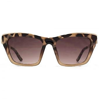 Kurt Geiger Angular Cateye With Metal Inlay Sunglasses In Milky Tortoiseshell To Nude Gradient