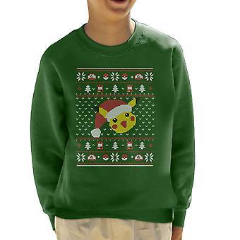 Christmas Pikachu Strik mønster Pokemon børne Sweatshirt