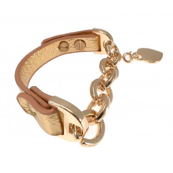 W.A.T Gold  Faux Leather And Chunky Gold Chain Heart Bracelet