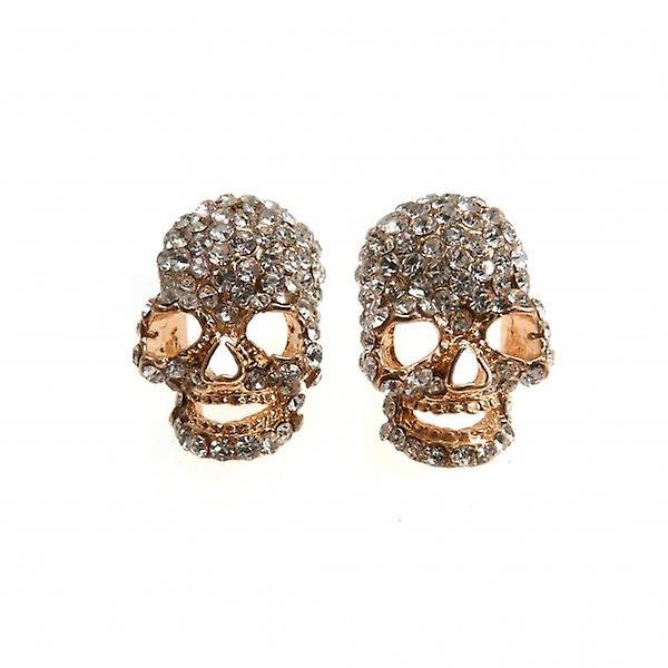 W.A.T Small Gold Style Clear Crystal Skull Shaped Earrings