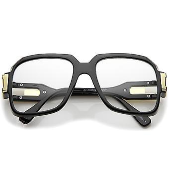 Großen Retro Hip Hop Style Clear Linse Platz Brille 54mm