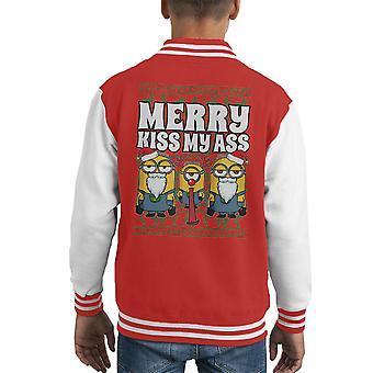 Esbirros felices besan mi culo Navidad punto patrón chaqueta del cabrito Varsity