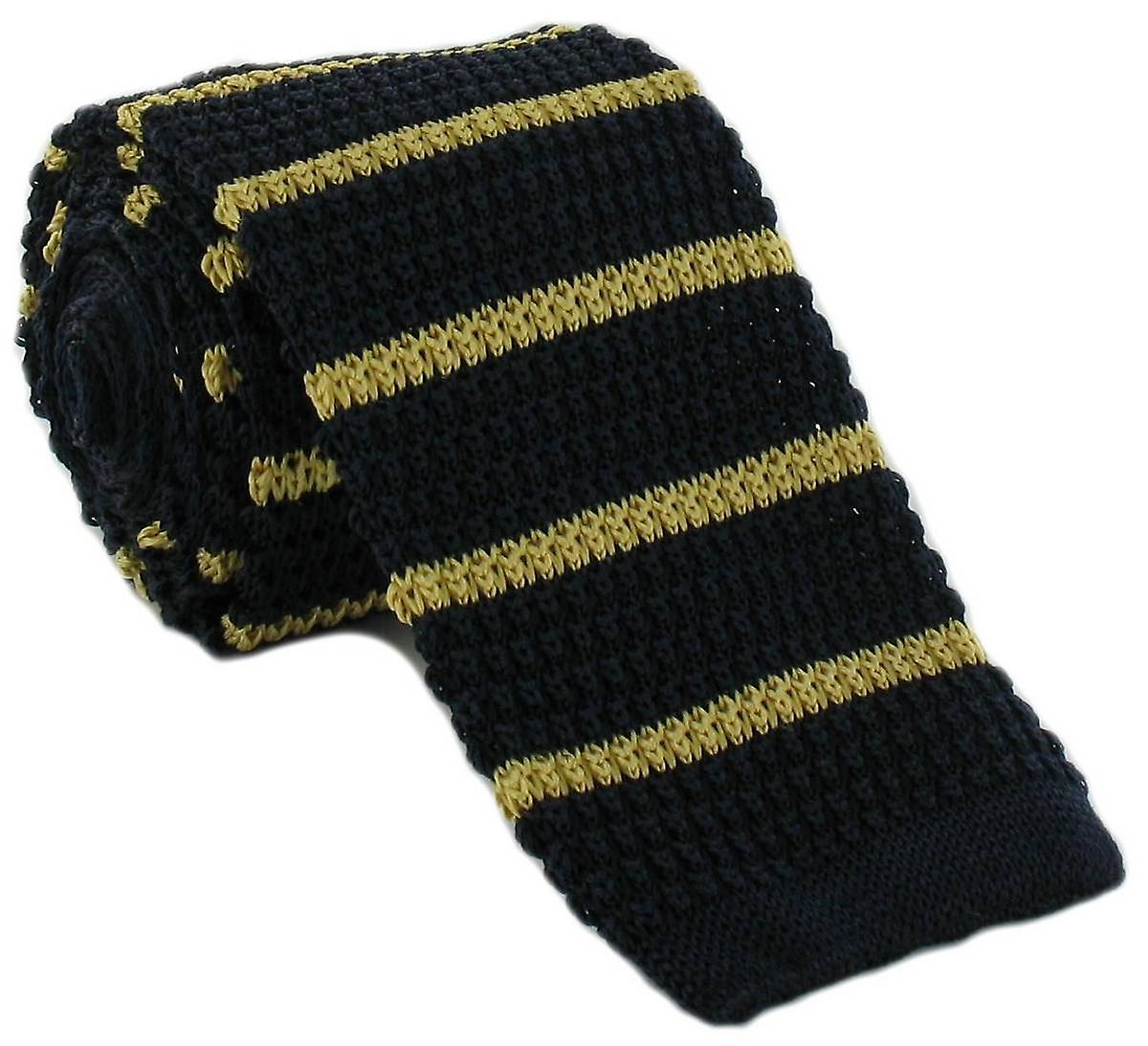 Michelsons of London Silk Knitted Striped Skinny Tie - Navy/Yellow