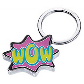 Troika Caution Comic WOW Key Ring - Pink/Green