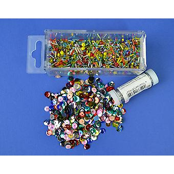 Bright Sequin & Bead Mix with Wire for Crafts - 80g | Sequin Craft Supplies