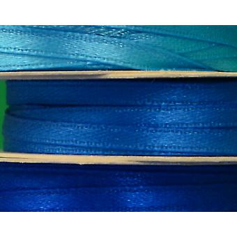 3mm Blues Co-Ordinating Satin Ribbon Set for Crafts - 3 Pack
