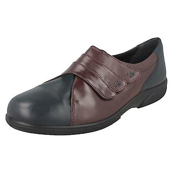Ladies Easy B Wide Fitting Rip Tape Fastened Flats Bakewell
