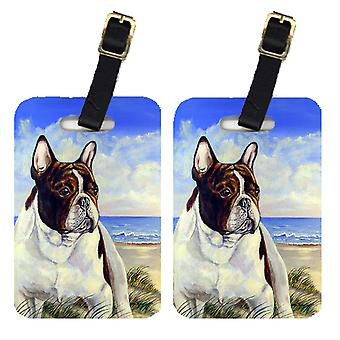 Carolines Treasures  7171BT Pair of 2 French Bulldog at the beach Luggage Tags