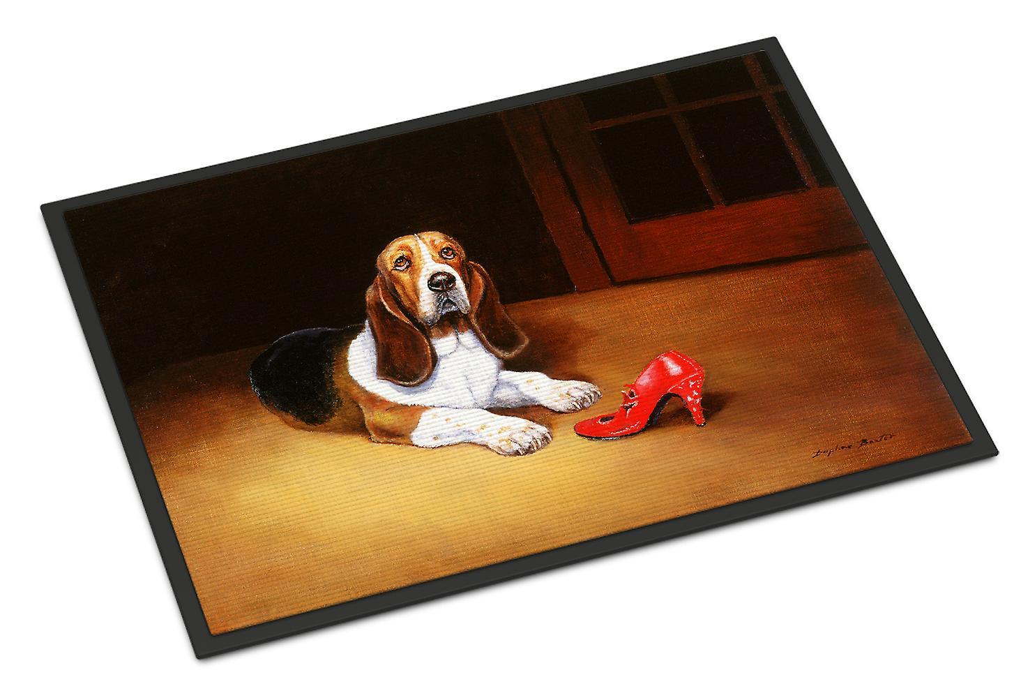 Carolines Treasures  BDBA0372MAT Basset and Shoe 18x27 Indoor or Outdoor Mat 18x27 Shoe af242f