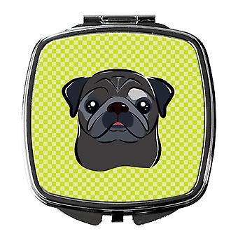 Carolines Treasures  BB1325SCM Checkerboard Lime Green Black Pug Compact Mirror
