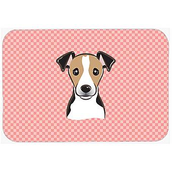 Checkerboard Pink Jack Russell Terrier Mouse Pad, Hot Pad or Trivet