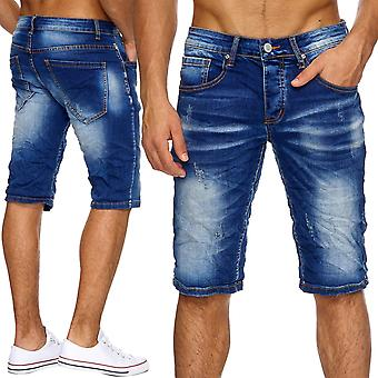 Men's Jeans Shorts men's shorts torn Stonewashed pants ripped frayed denim