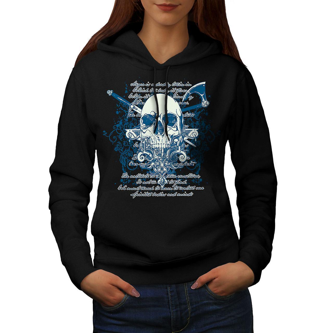 Axe Death Cool Goth Skull Women Black Hoodie | Wellcoda