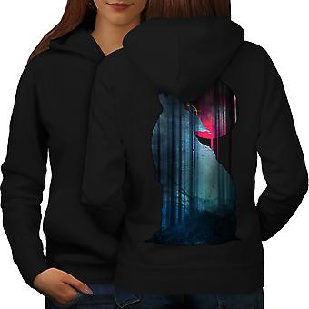 Mountain Wolf Howl Women BlackHoodie Back | Wellcoda