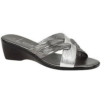 Ladies Womens New Mid Wedge Heel Padded Sock Slip On Mule Sandals Shoes