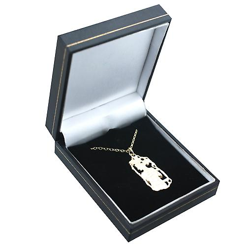9ct Gold 33x17mm Libra Zodiac Pendant with a belcher Chain 16 inches Only Suitable for Children