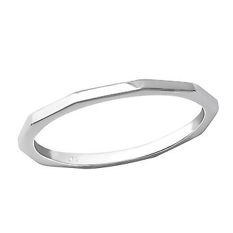 Faceted - 925 Sterling Silver Plain Rings - W36217X
