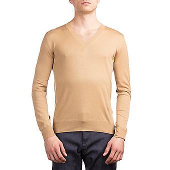 Prada Men's Silk Cotton V-Neck Sweater Brown