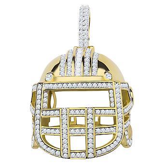925 sterling sølv micro pave vedhæng - 3D fodbold hjelm