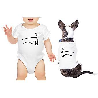 拳 t シャツ白いボディー スーツ ギフト アイデアを一致するペット赤ちゃんはポンド