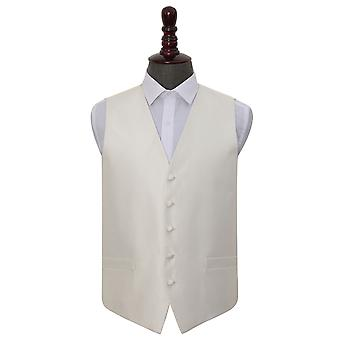 Ivory Solid Check Wedding Waistcoat