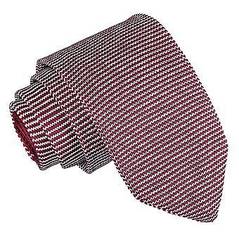 Wit en Bourgondië Pin Stripe gebreide slanke Tie