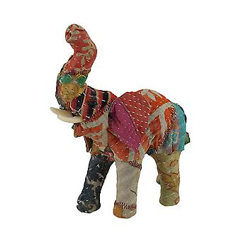 Vintage Sari Fabric Covered Paper Mache Elephant Sculpture 7 in.