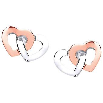 Cavendish French Linked Heart Earrings - Silver/Rose Gold